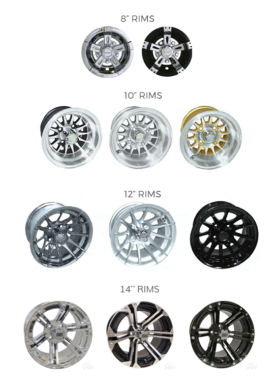 golf cart rim and tire options