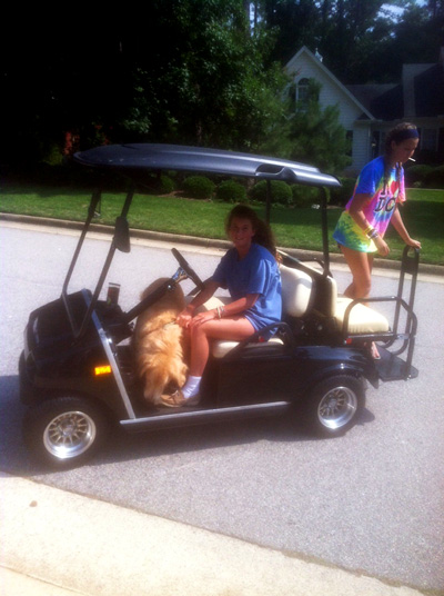 Kids with Dog on an Golf Cart