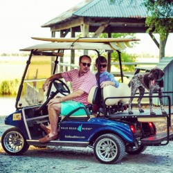 Golf Cart with Surfboard & Dog
