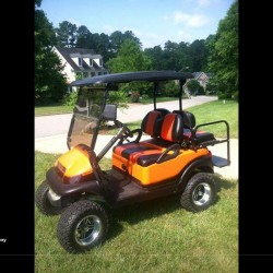 Orange and Purple Street Legal Golf Cart