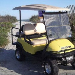 Yellow Street Legal Golf Cart at the Beach