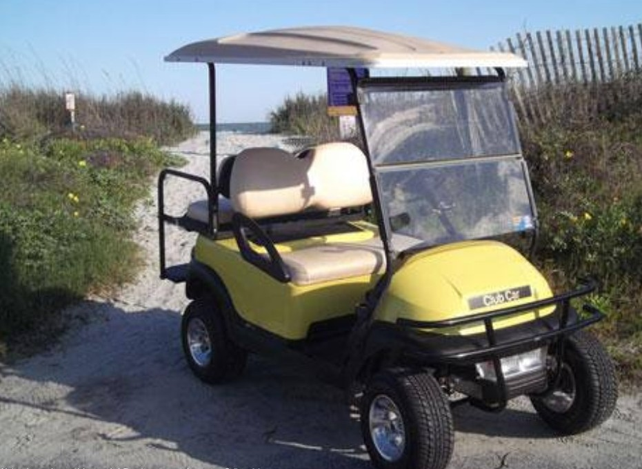 Yellow Street Legal Golf Cart at the Beach