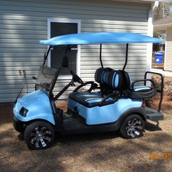 carolina blue street legal golf cart with blue and black seats